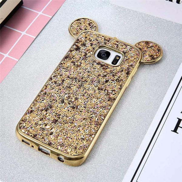 Luxury Bling Sequins Silicone Case for Samsung Galaxy S7 S7 Edge-gold