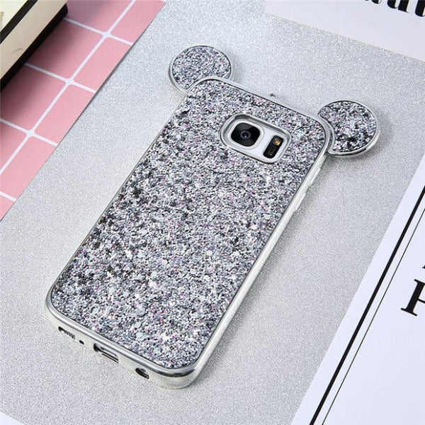 Luxury Bling Sequins Silicone Case for Samsung Galaxy S7 S7 Edge-silver