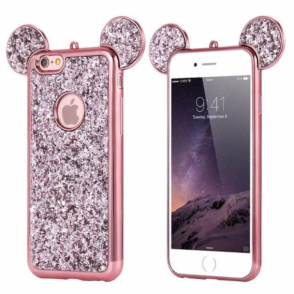 Luxury Bling Sequins Silicone Case For iPhone 7 Plus 6 6s Plus 5 5S SE-pink