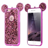 Luxury Bling Sequins Silicone Case For iPhone 7 Plus 6 6s Plus 5 5S SE-hot pink