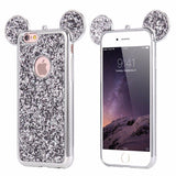 Luxury Bling Sequins Silicone Case For iPhone 7 Plus 6 6s Plus 5 5S SE-silver