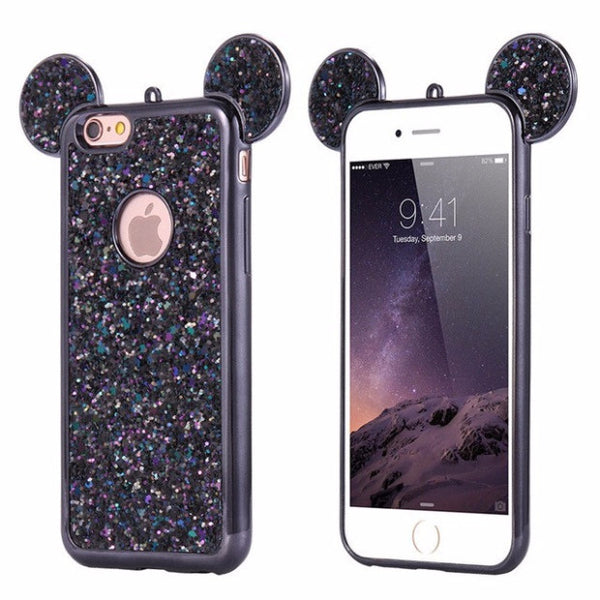 Luxury Bling Sequins Silicone Case For iPhone 7 Plus 6 6s Plus 5 5S SE-black