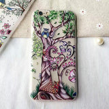 162-Owl Peacock Cover Soft Case For iPhone