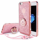 Bling Diamond Phone Case with strap For iPhone-pink