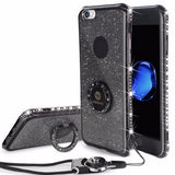 Bling Diamond Phone Case with strap For iPhone-black