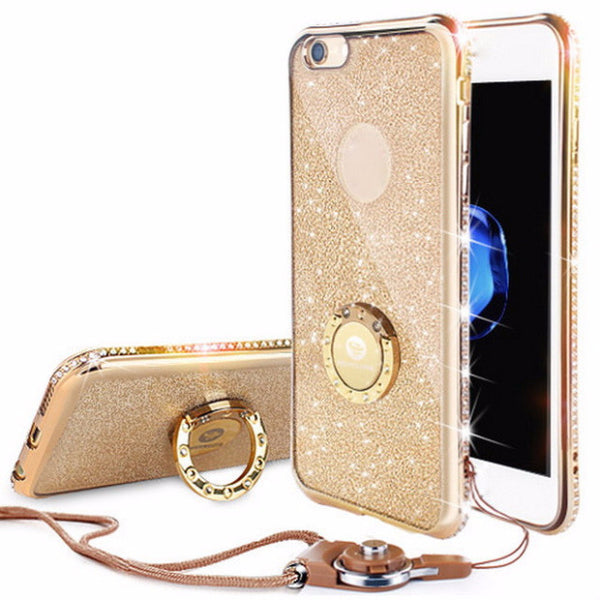 Bling Diamond Phone Case with strap For iPhone-gold