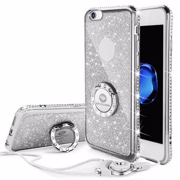 Bling Diamond Phone Case with strap For iPhone-silver