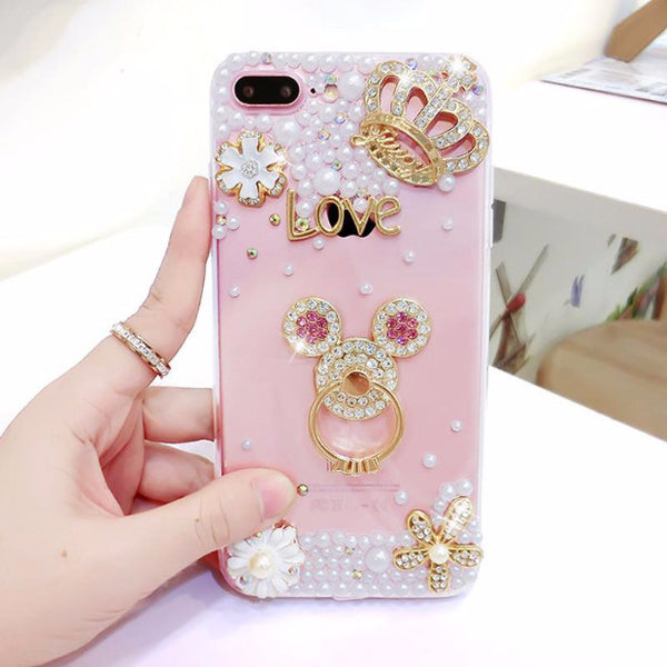 Luxury Pearls Diamond Soft Silicone Case for iPhone with Back Finger Ring-1