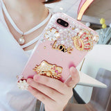 Luxury Pearls Diamond Soft Silicone Case for iPhone with Back Finger Ring-9
