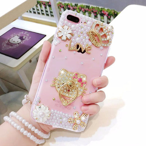 Luxury Pearls Diamond Soft Silicone Case for iPhone with Back Finger Ring_HELLO KITTY