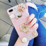 Luxury Pearls Diamond Soft Silicone Case for iPhone with Back Finger Ring-7