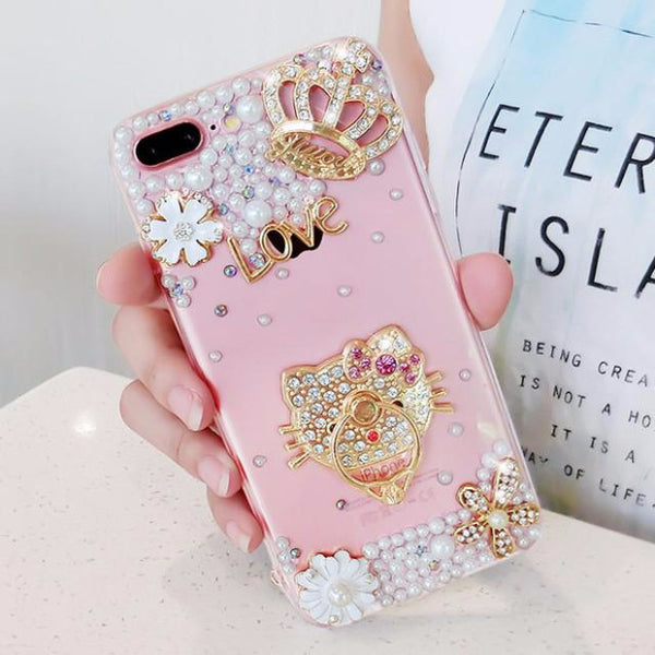 Luxury Pearls Diamond Soft Silicone Case for iPhone with Back Finger Ring-2