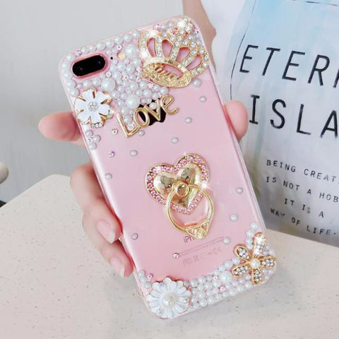 Luxury Pearls Diamond Soft Silicone Case for iPhone with Back Finger Ring_HEART