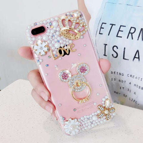 Luxury Pearls Diamond Soft Silicone Case for iPhone with Back Finger Ring_MICKY MOUSE