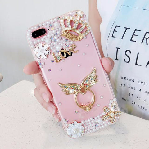 Luxury Pearls Diamond Soft Silicone Case for iPhone with Back Finger Ring_WINGS