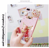 Luxury Pearls Diamond Soft Silicone Case for iPhone with Back Finger Ring-10