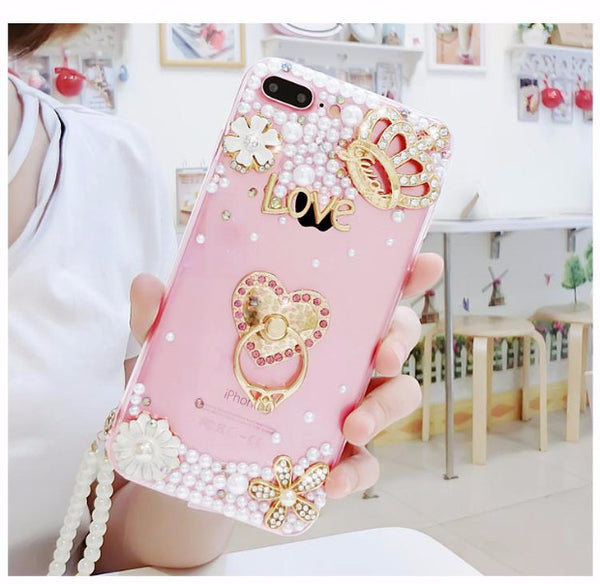 Luxury Pearls Diamond Soft Silicone Case for iPhone with Back Finger Ring-6