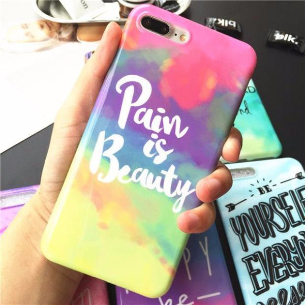 529-Glossy Rainbow Color Oft Silicon Cases For iPhone