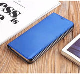 2017 Mirror Smart Leather Phone Case For Samsung-sky blue