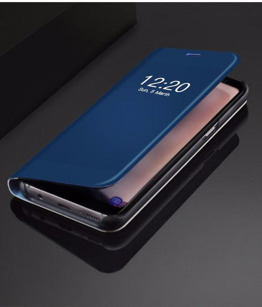 2017 Mirror Smart Leather Phone Case For Samsung-deep blue