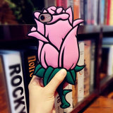 Valentine Gift 3D Rose Flower Romantic Coque Soft Silicon Phone Back Cover Case For iPhone-pink