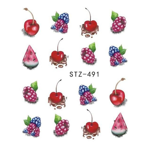 B023-Fruit Cream Cake Cat Beauty Decoration  Nail Sticker Decals