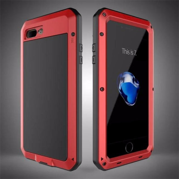 Heavy Duty Doom Armor Metal Case For iPhone-red