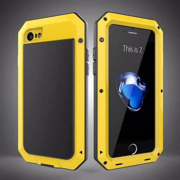 Heavy Duty Doom Armor Metal Case For iPhone-yellow