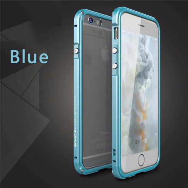 Aluminum Frame Metal Bumper Case For iPhone-blue