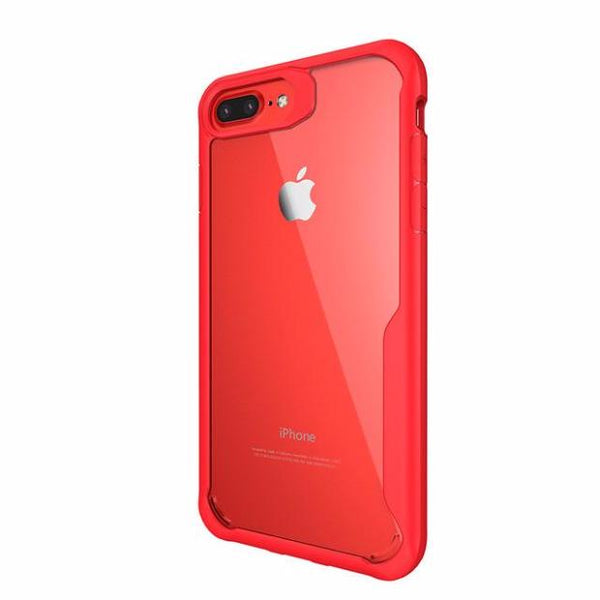Acrylic Shockproof Transparent Cover Case For iPhone-red