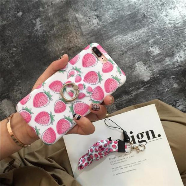 542-Fruids Case with Bear Ring Stander Soft TPU Cover For iPhone