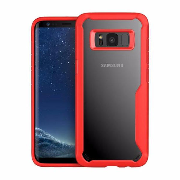 Acrylic Shockproof Transparent Cover Case For Samsung-red