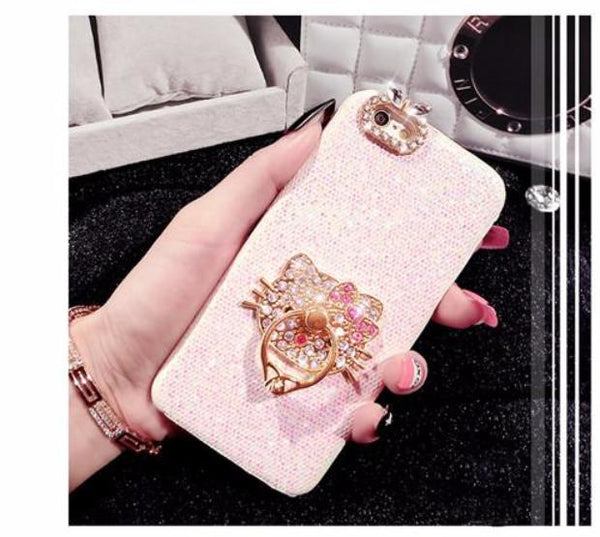 553-Fashion DIY Bling Diamond Cute Cat Ring Grip Glitter Phone Case