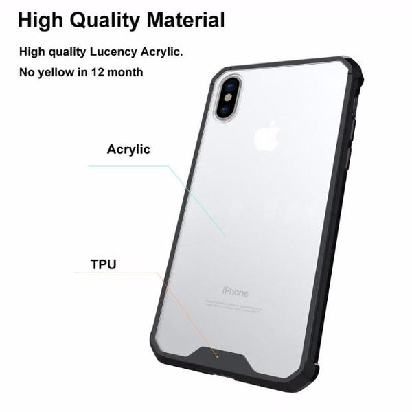 601-Transparent ShockProof Armour Soft TPU and Acrylic Simple Style Anti-Scratch For iPhone
