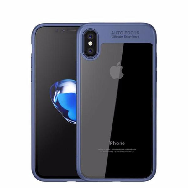 Toraise Acrylic Shockproof Transparent Cover Case For iPhone 8-Blue