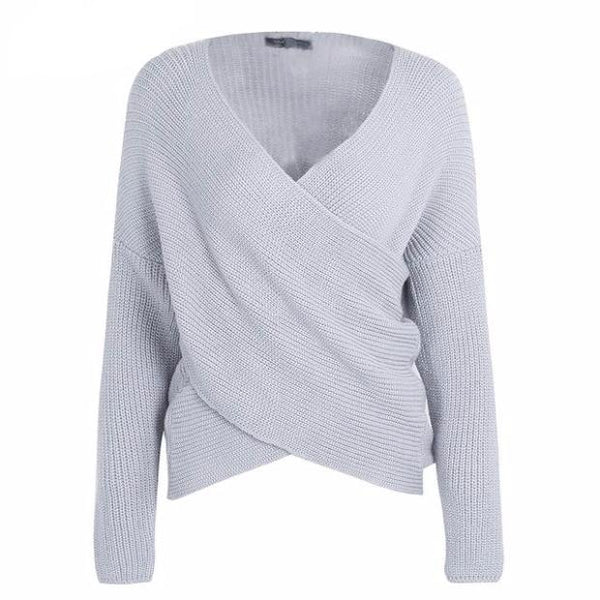 555-New Style V Neck Cross Knitting Autumn Winter Female Casual Sweater