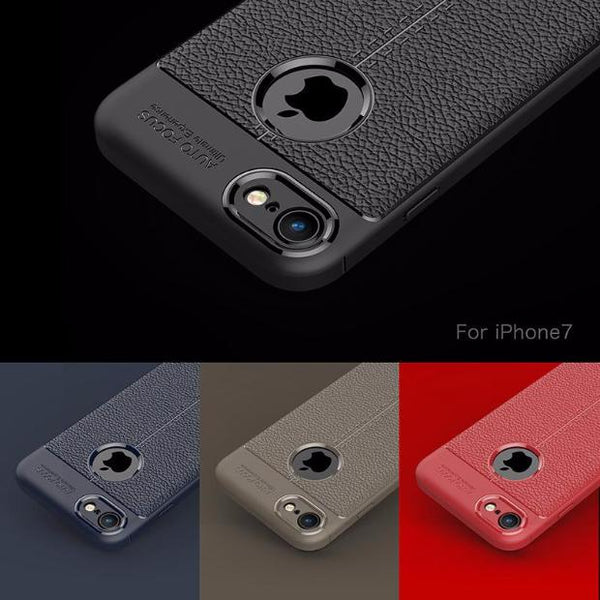 Luxury Litchi Pattern Soft Silicone TPU Case For iPhone