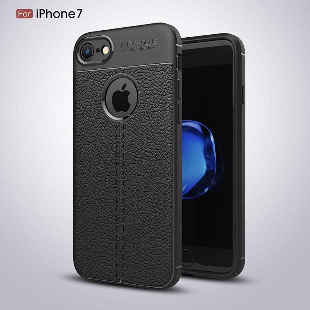 Luxury Litchi Pattern Soft Silicone TPU Case For iPhone-black