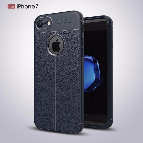 Luxury Litchi Pattern Soft Silicone TPU Case For iPhone-blue