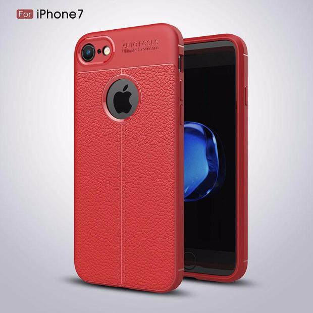 Luxury Litchi Pattern Soft Silicone TPU Case For iPhone-red