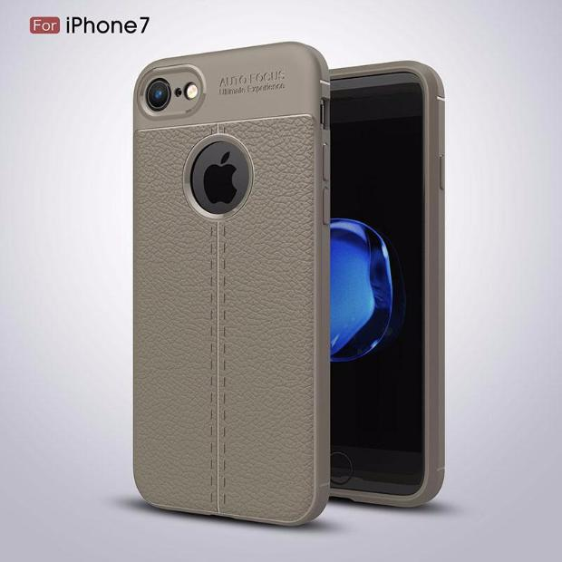 Luxury Litchi Pattern Soft Silicone TPU Case For iPhone-gray