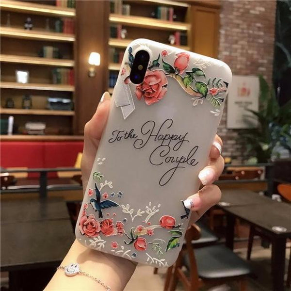 643-Cute Cartoon Flowers Matte TPU Soft Back Cover Case For iPhone X