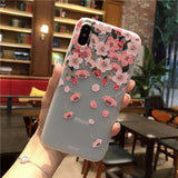 643-Cute Cartoon Flowers Matte TPU Soft Back Cover Case For iPhone