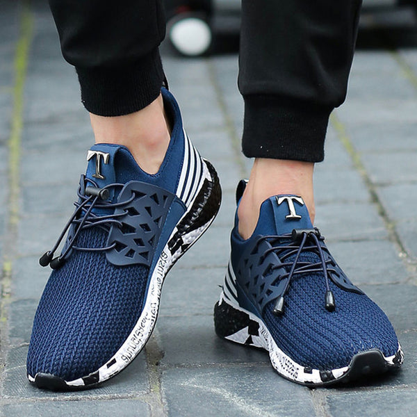 588-Running Shoes For Men Trainers Telescopic rope Soft Bottom Mesh Sneakers Shoes