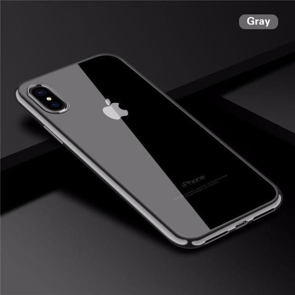 726-Ultra Thin Electroplated Clear Soft TPU Silicone Shockproof Case For iPhone