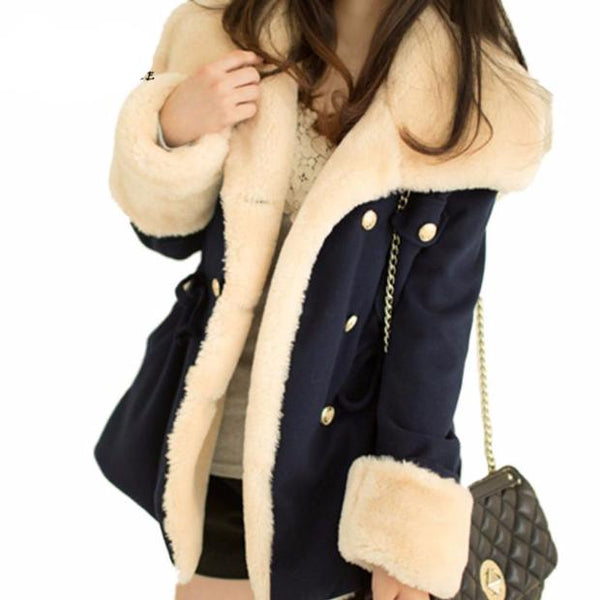 569-Autumn / Winter Double Breasted College Wind Cotton Coat