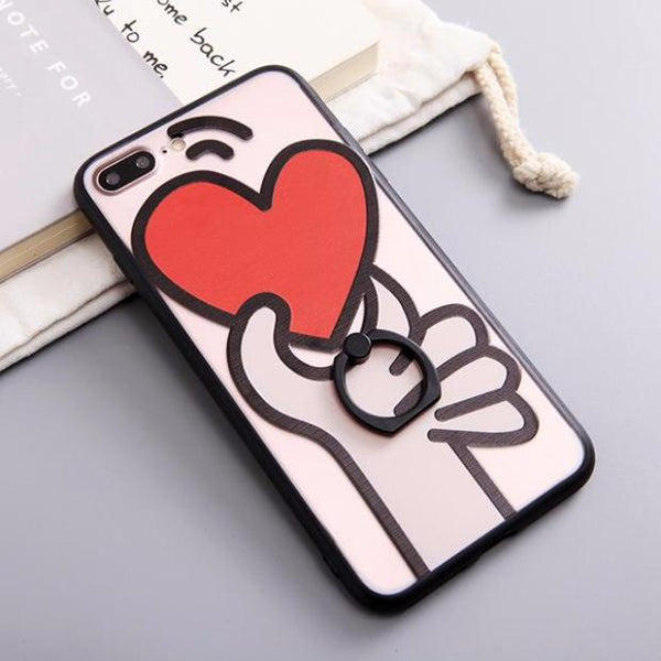 515-Love Heart Case With Finger Ring For iPhone