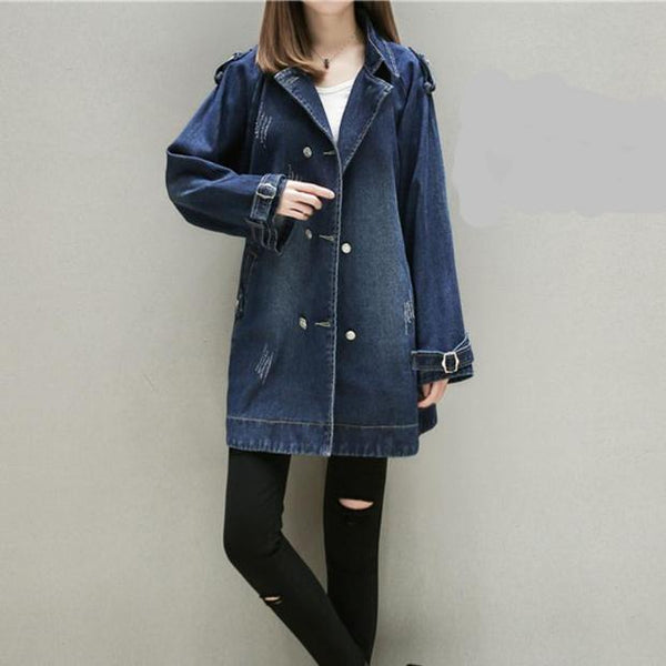 C002-Ladies Loose Vintage Denim Jackets