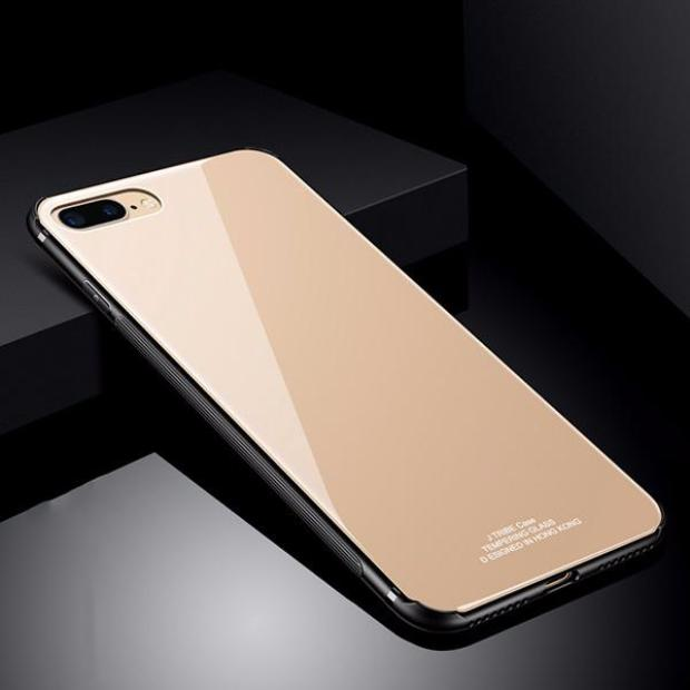 637-Luxury Soft TPU+Rigid Glass Back Cove Case For iPhone