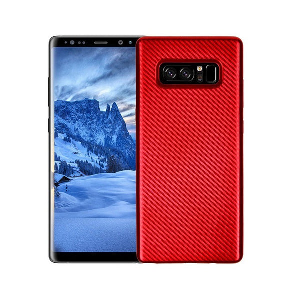 781-Carbon Fiber Classic Slim Silicone Case For Note 8